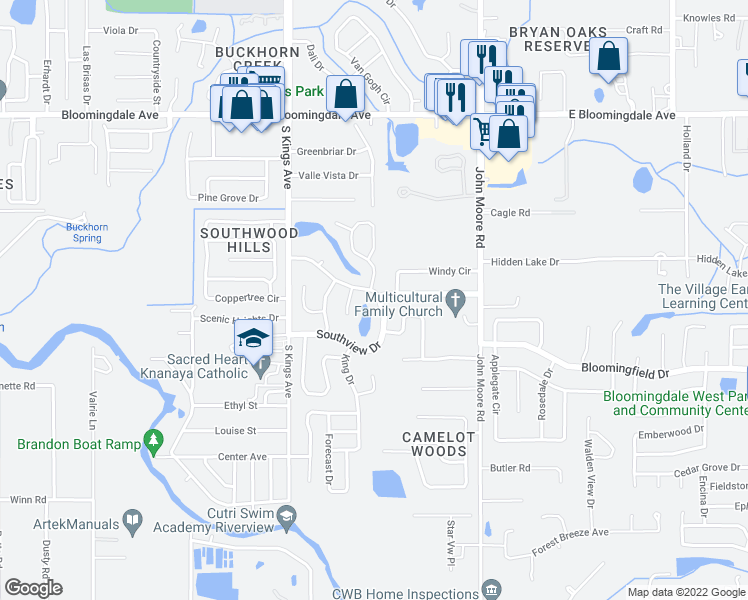map of restaurants, bars, coffee shops, grocery stores, and more near 3729 Southview Drive in Brandon