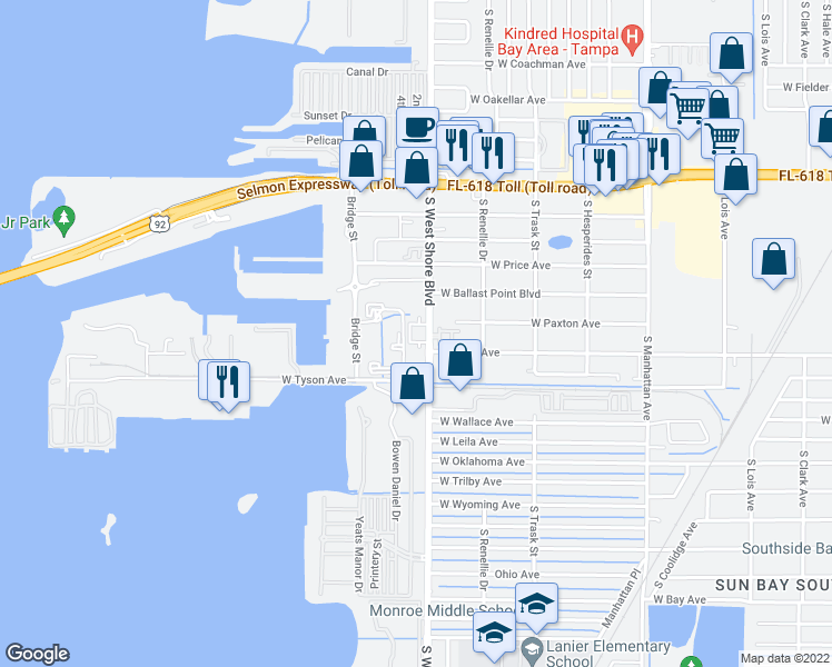 map of restaurants, bars, coffee shops, grocery stores, and more near 5215 South West Shore Boulevard in Tampa
