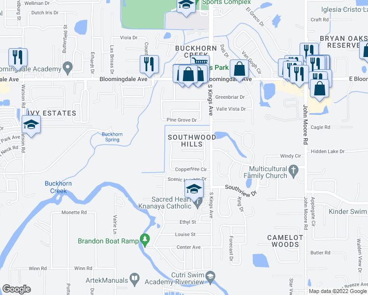 map of restaurants, bars, coffee shops, grocery stores, and more near 816 Centerwood Court in Brandon