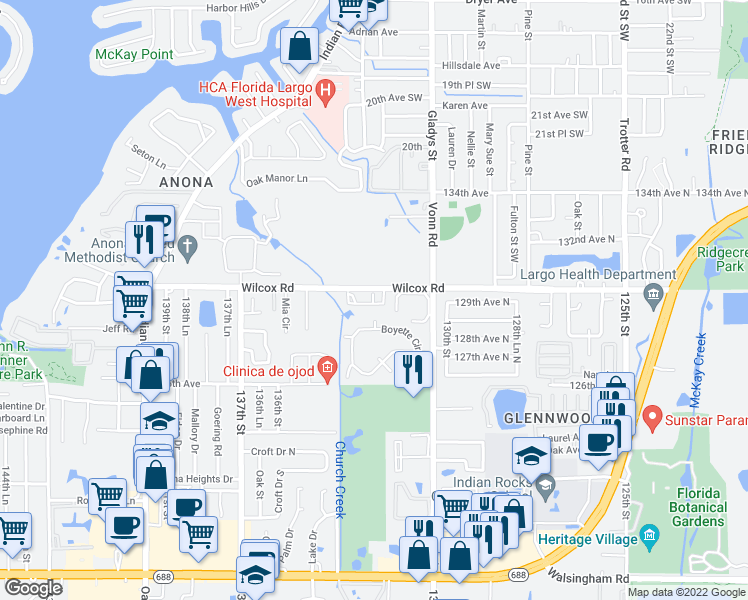 map of restaurants, bars, coffee shops, grocery stores, and more near 13200 Wilcox Road in Largo