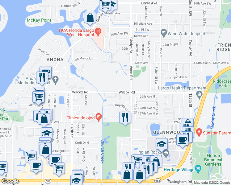 map of restaurants, bars, coffee shops, grocery stores, and more near 3202 Whispering Palms