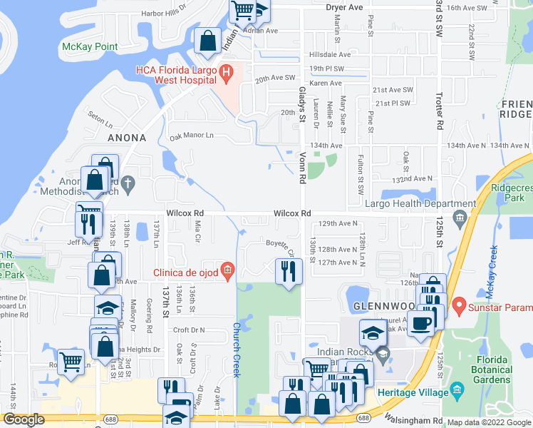 map of restaurants, bars, coffee shops, grocery stores, and more near 3202 Whispering Palms Place Southwest in Largo