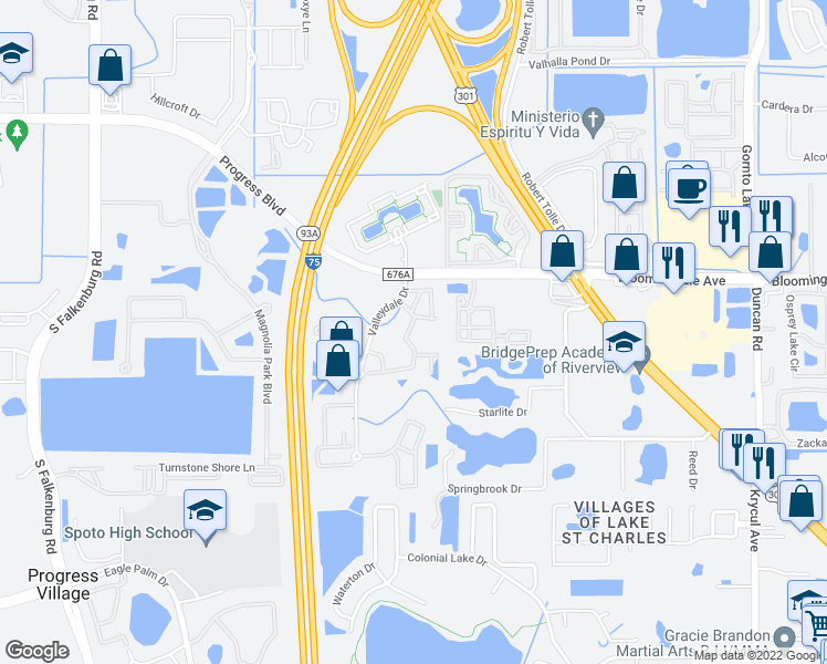 map of restaurants, bars, coffee shops, grocery stores, and more near 9605 Lakedale Way in Riverview