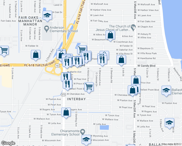 map of restaurants, bars, coffee shops, grocery stores, and more near 5000 South Himes Avenue in Tampa
