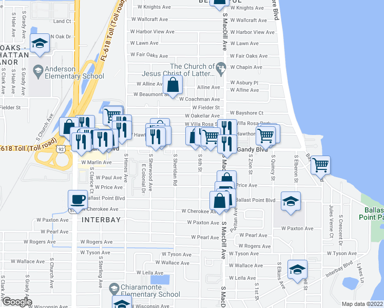 map of restaurants, bars, coffee shops, grocery stores, and more near 3210 West Gandy Boulevard in Tampa