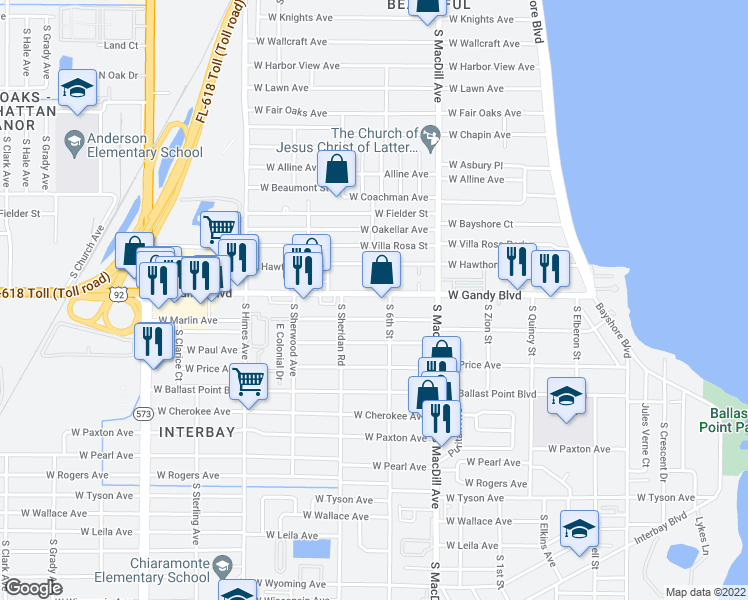 map of restaurants, bars, coffee shops, grocery stores, and more near 3208 West Gandy Boulevard in Tampa