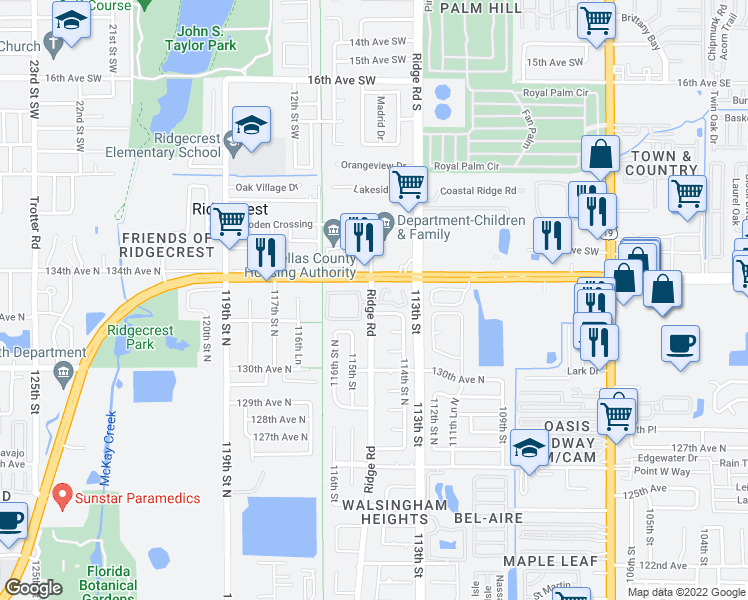 map of restaurants, bars, coffee shops, grocery stores, and more near 13333 Ridge Road in Largo