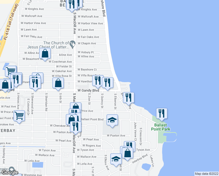 map of restaurants, bars, coffee shops, grocery stores, and more near 4807 Bayshore Boulevard in Tampa