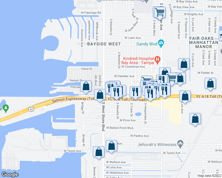 map of restaurants, bars, coffee shops, grocery stores, and more near 4800 South Westshore Boulevard in Tampa