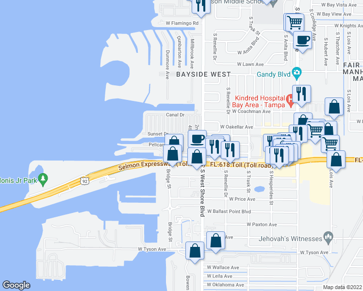 map of restaurants, bars, coffee shops, grocery stores, and more near 4851 West Gandy Boulevard in Tampa