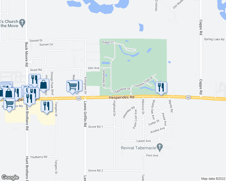 map of restaurants, bars, coffee shops, grocery stores, and more near 501 Clubhouse Drive in Lake Wales