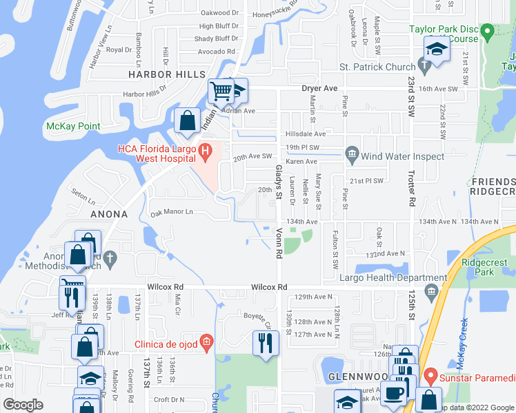 map of restaurants, bars, coffee shops, grocery stores, and more near 2200 Gladys Street in Largo