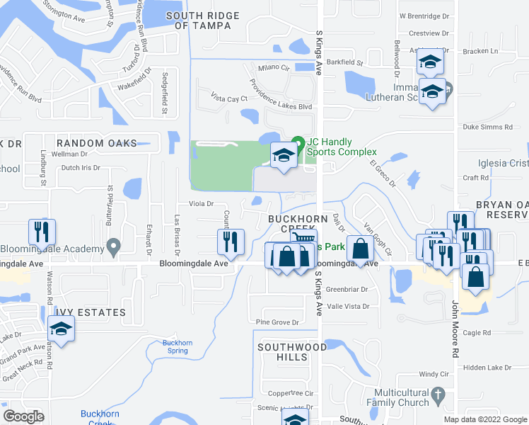 map of restaurants, bars, coffee shops, grocery stores, and more near Creekbridge Rd in Brandon