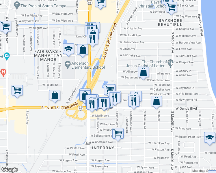 map of restaurants, bars, coffee shops, grocery stores, and more near 4711 South Himes Avenue in Tampa