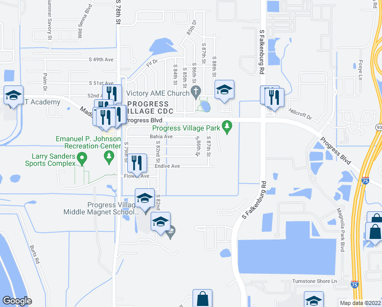 map of restaurants, bars, coffee shops, grocery stores, and more near 8320 Dahlia Avenue in Tampa