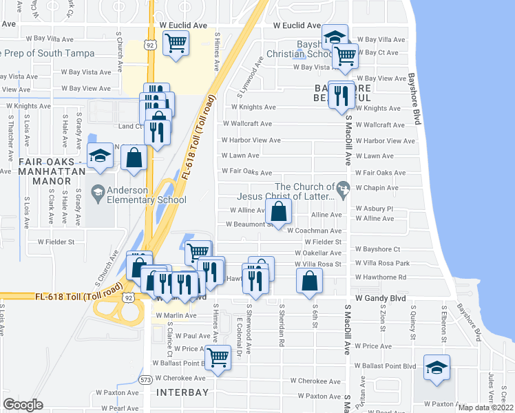map of restaurants, bars, coffee shops, grocery stores, and more near 3313 West Alline Avenue in Tampa