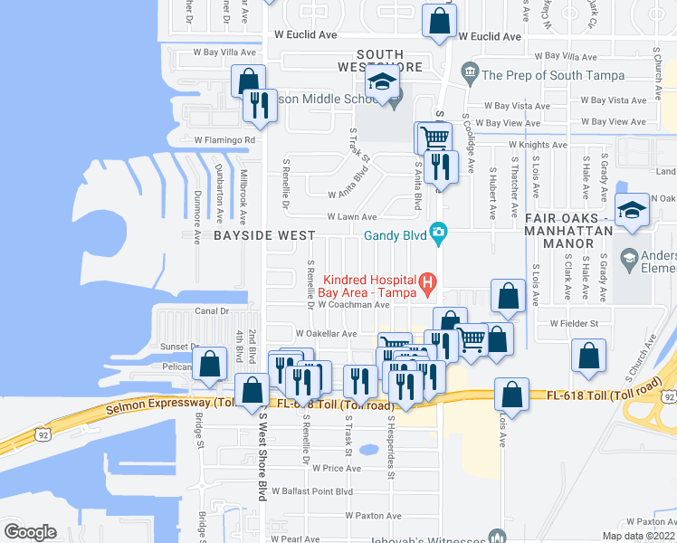 map of restaurants, bars, coffee shops, grocery stores, and more near 4515 South Trask Street in Tampa