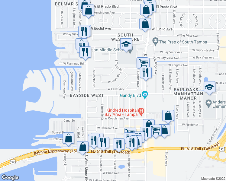 map of restaurants, bars, coffee shops, grocery stores, and more near 4704 West Lawn Avenue in Tampa