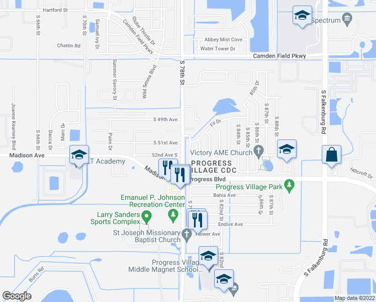 map of restaurants, bars, coffee shops, grocery stores, and more near 4907 South 79th Street in Tampa