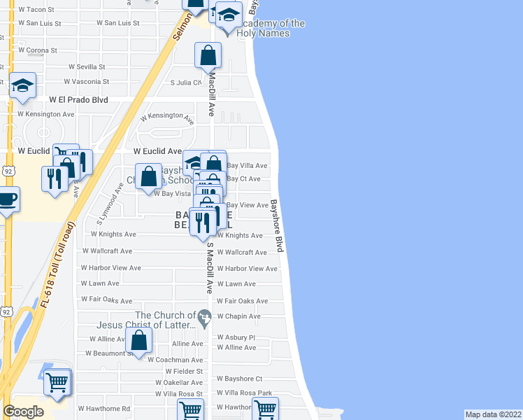 map of restaurants, bars, coffee shops, grocery stores, and more near 4015 Bayshore Boulevard in Tampa