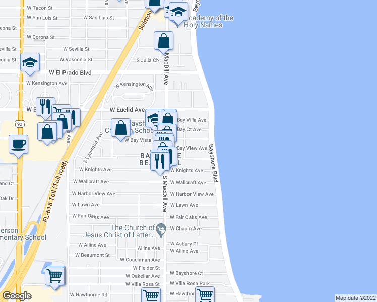 map of restaurants, bars, coffee shops, grocery stores, and more near 2920 West Bayview Avenue in Tampa