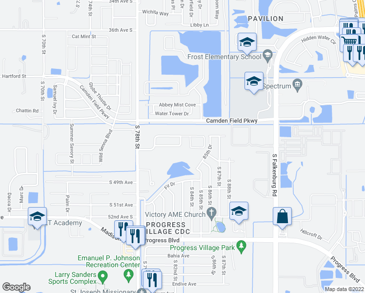 map of restaurants, bars, coffee shops, grocery stores, and more near 7954 Camden Woods Drive in Tampa