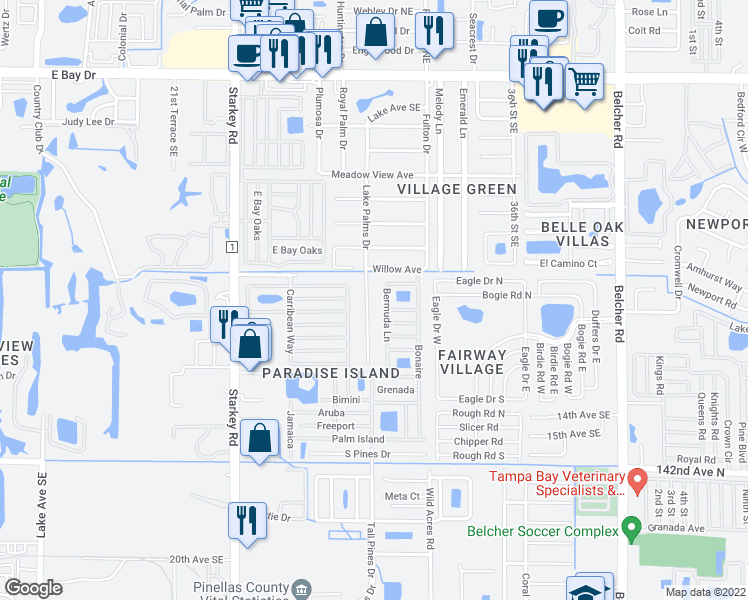 map of restaurants, bars, coffee shops, grocery stores, and more near 821 Lake Palms Dr in Largo