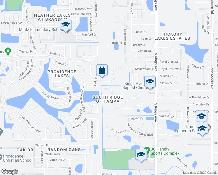 map of restaurants, bars, coffee shops, grocery stores, and more near 1120 Summer Breeze Drive in Brandon