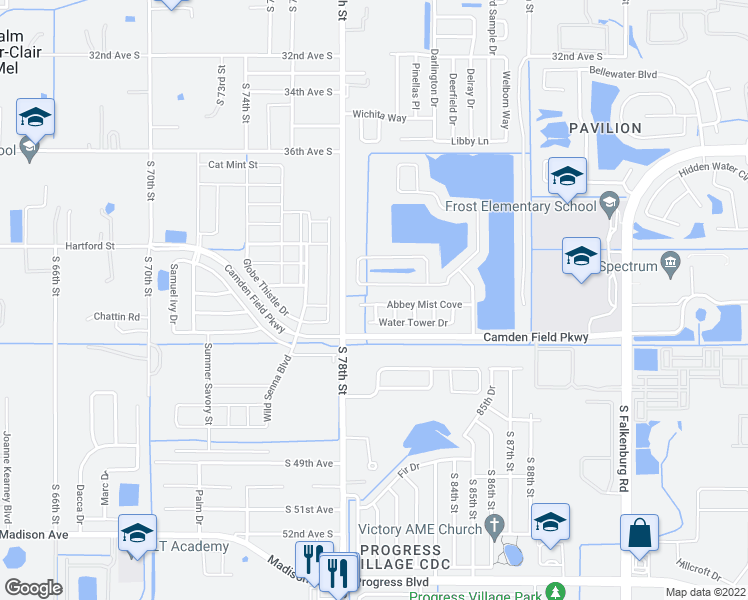 map of restaurants, bars, coffee shops, grocery stores, and more near 7814 Abbey Mist Cove in Riverview