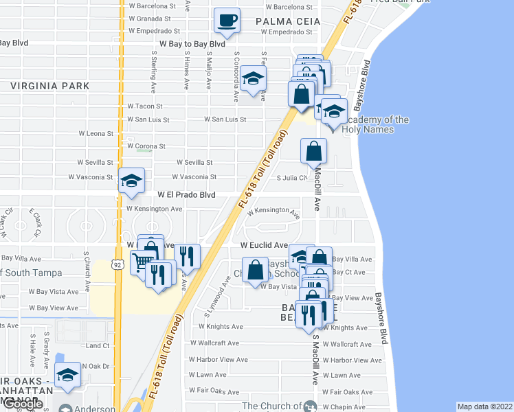 map of restaurants, bars, coffee shops, grocery stores, and more near 3131 West Kensington Avenue in Tampa