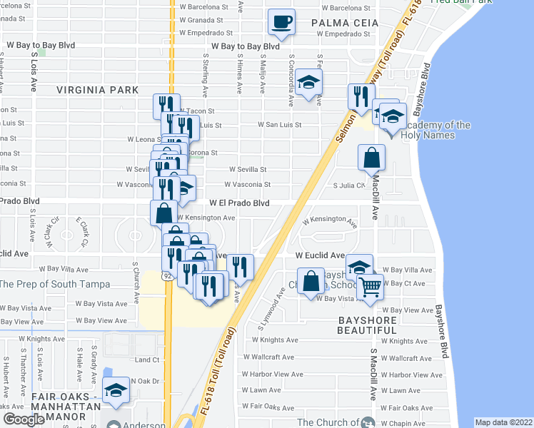 map of restaurants, bars, coffee shops, grocery stores, and more near 3407 West Kensington Avenue in Tampa