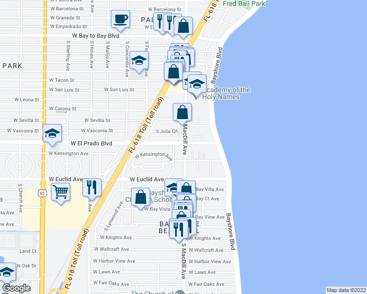 map of restaurants, bars, coffee shops, grocery stores, and more near 3102 West El Prado Boulevard in Tampa