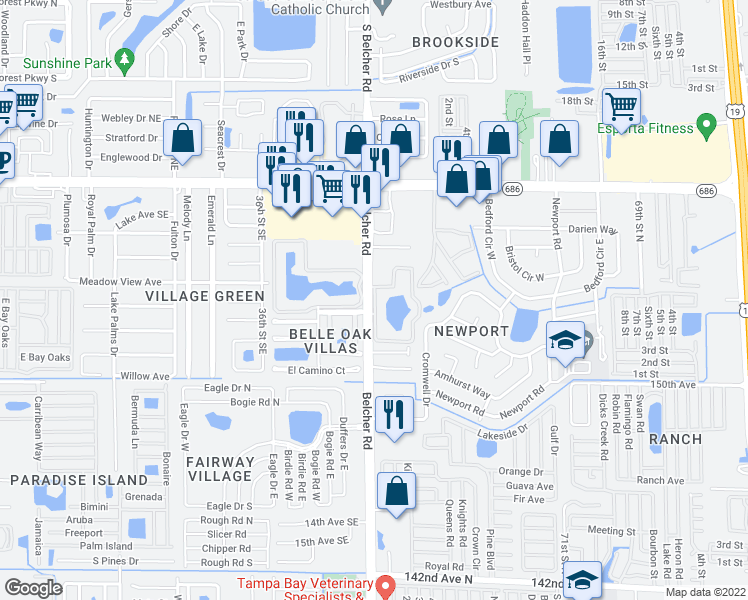 map of restaurants, bars, coffee shops, grocery stores, and more near 666 Belcher Road in Largo
