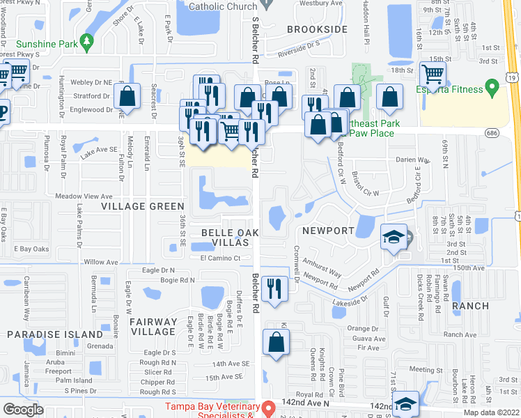 map of restaurants, bars, coffee shops, grocery stores, and more near None in Largo