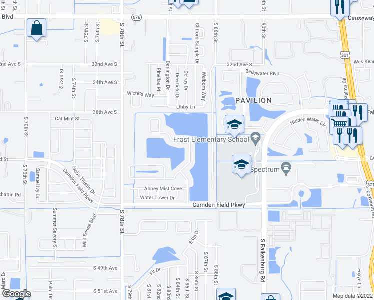 map of restaurants, bars, coffee shops, grocery stores, and more near 8332 Canterbury Lake Boulevard in Tampa