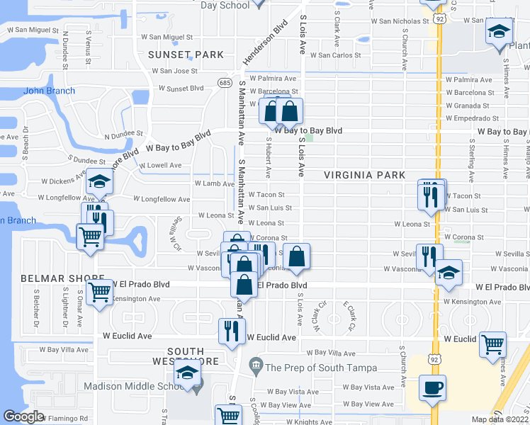 map of restaurants, bars, coffee shops, grocery stores, and more near 4302 West San Luis Street in Tampa