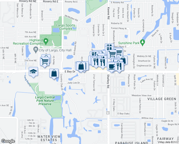 map of restaurants, bars, coffee shops, grocery stores, and more near 2075 East Bay Drive in Largo