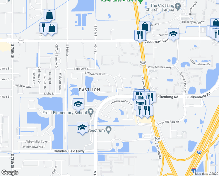map of restaurants, bars, coffee shops, grocery stores, and more near 9215 Grand Palm Court in Riverview