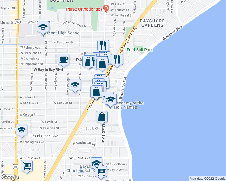 map of restaurants, bars, coffee shops, grocery stores, and more near 2911 W Stovall St in Tampa