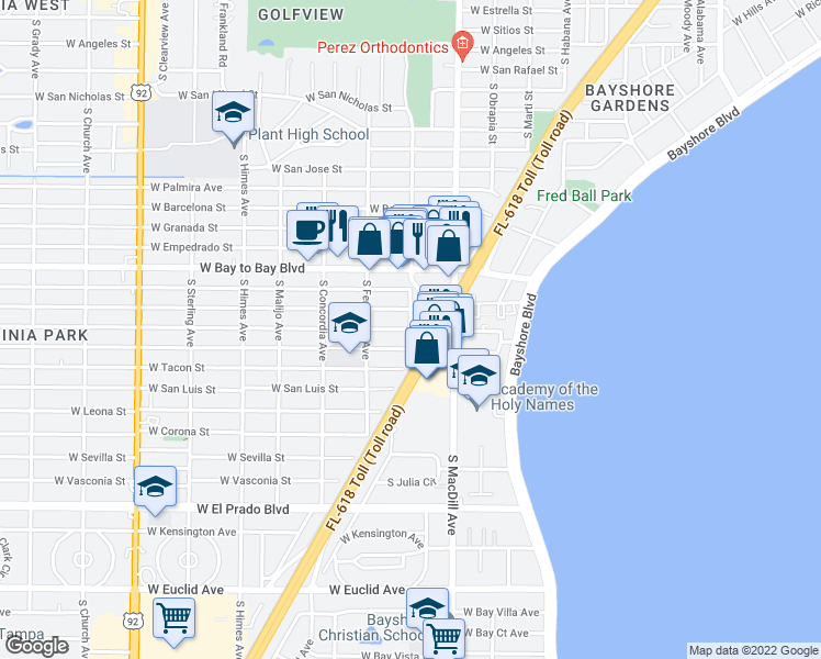 map of restaurants, bars, coffee shops, grocery stores, and more near West San Pedro Street & South Esperanza Avenue in Tampa