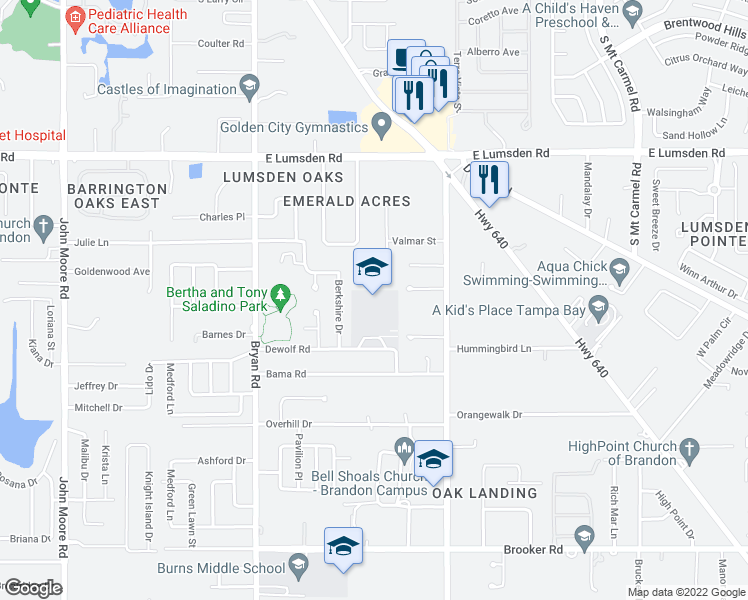 map of restaurants, bars, coffee shops, grocery stores, and more near 1409 Clubview Drive in Brandon