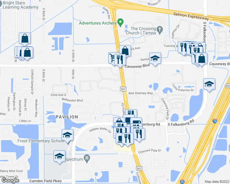 map of restaurants, bars, coffee shops, grocery stores, and more near 9488-9494 Windermere Lake Drive in Riverview