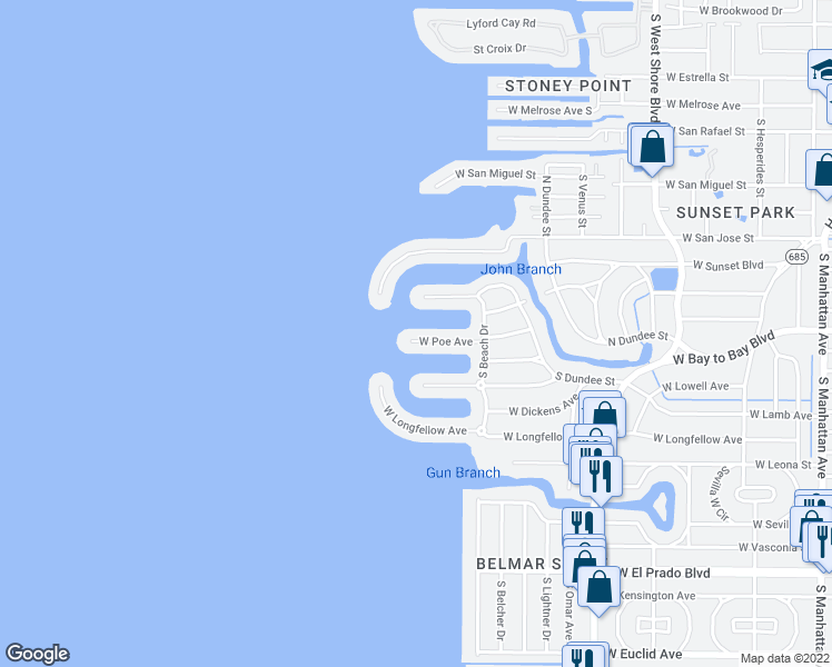 map of restaurants, bars, coffee shops, grocery stores, and more near 5117 West Poe Avenue in Tampa