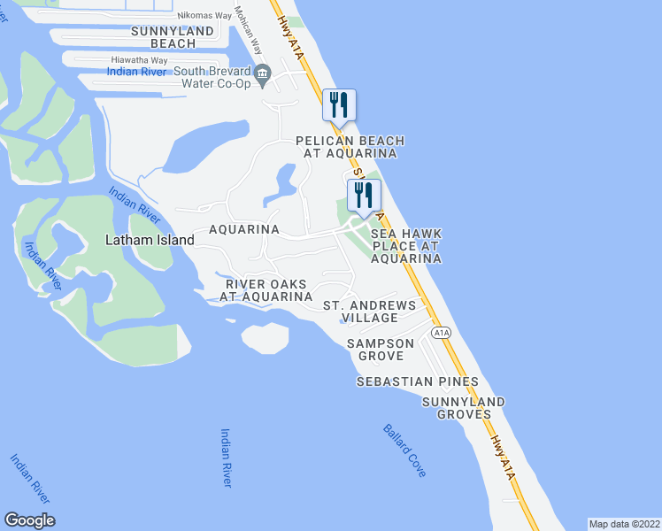 map of restaurants, bars, coffee shops, grocery stores, and more near 206 Osprey Villas Court in Melbourne Beach
