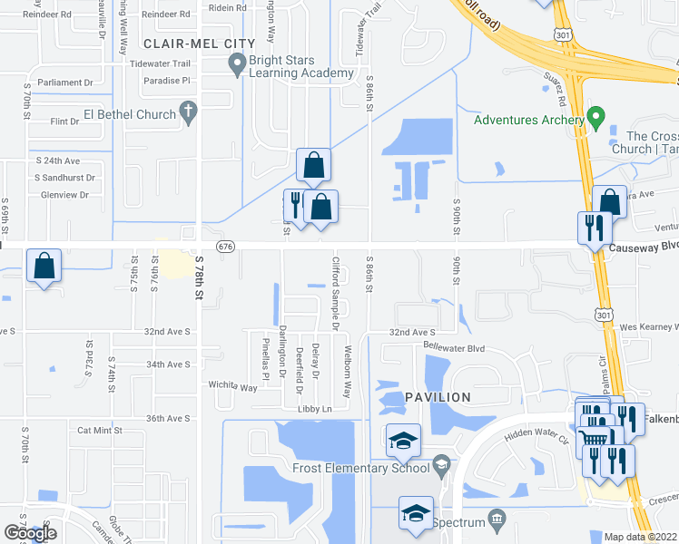 map of restaurants, bars, coffee shops, grocery stores, and more near 2901 Sample Loop in Tampa
