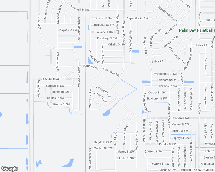 map of restaurants, bars, coffee shops, grocery stores, and more near 1308 Saint Andre Boulevard in Palm Bay
