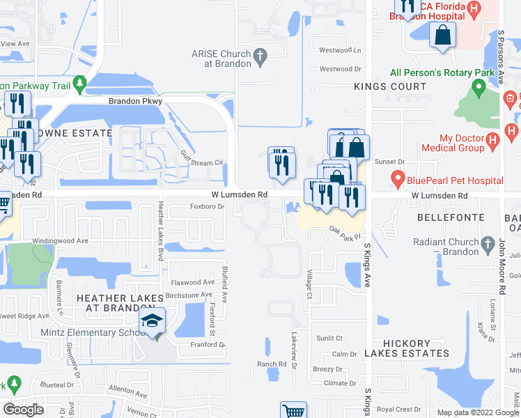 map of restaurants, bars, coffee shops, grocery stores, and more near 1010 Versant Drive in Brandon