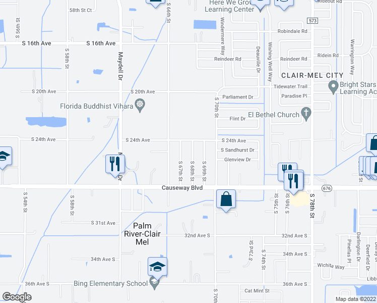 map of restaurants, bars, coffee shops, grocery stores, and more near 2410 South 68th Street in Tampa