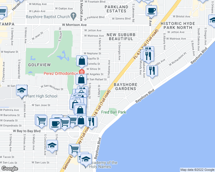 map of restaurants, bars, coffee shops, grocery stores, and more near 2802 West San Isidro Street in Tampa