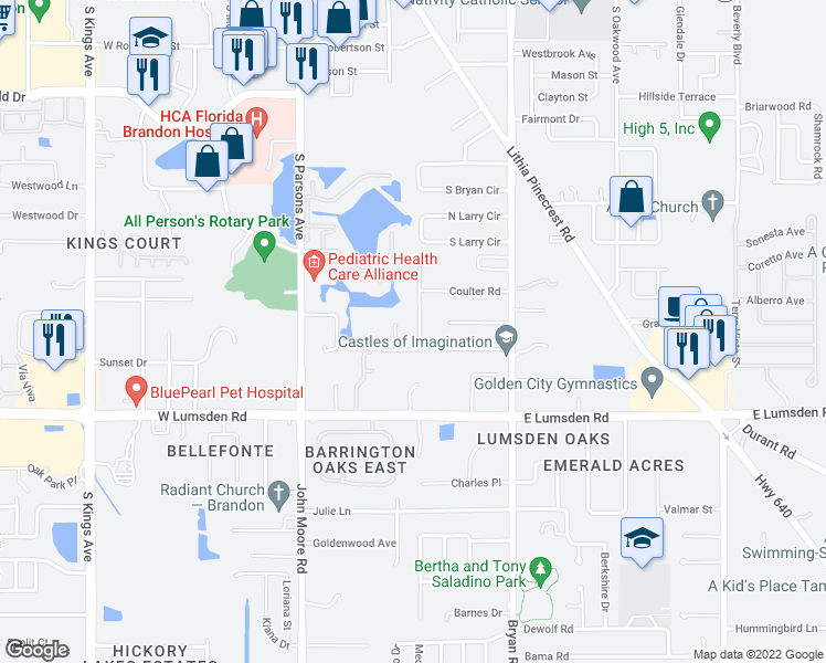 map of restaurants, bars, coffee shops, grocery stores, and more near 806 Coulter Place in Brandon